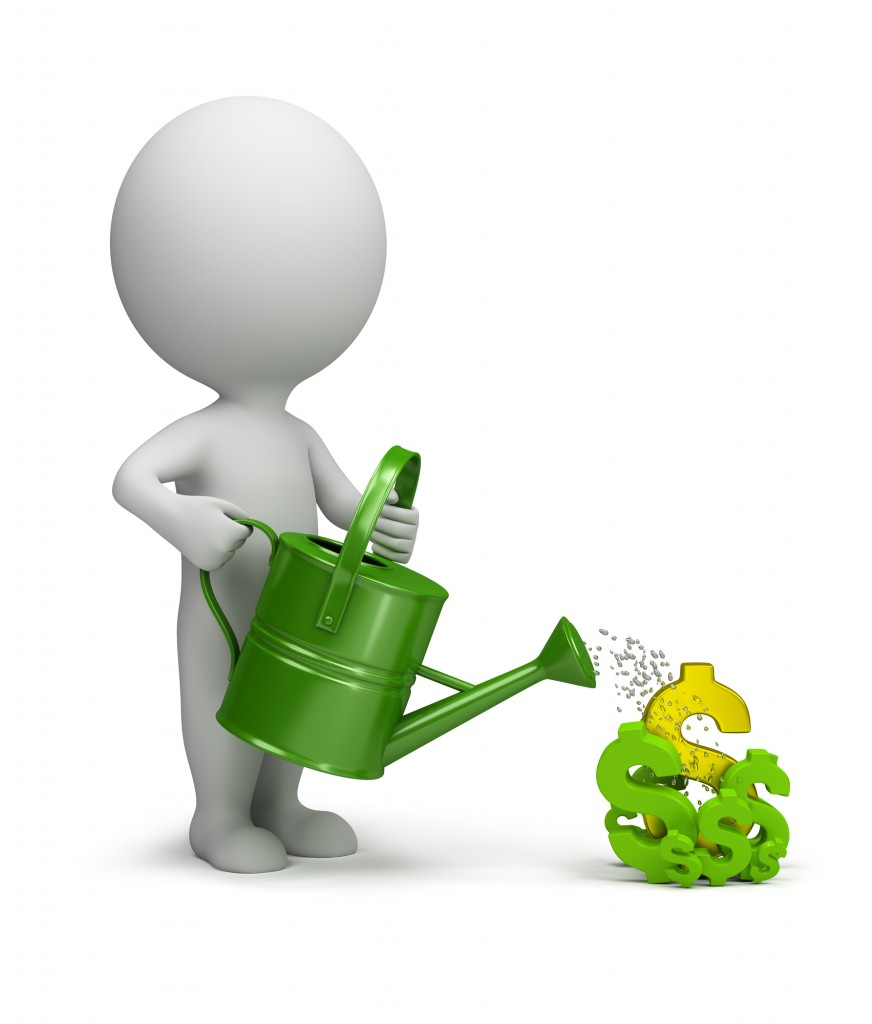 3d small person watering the dollar. 3d image. White background.