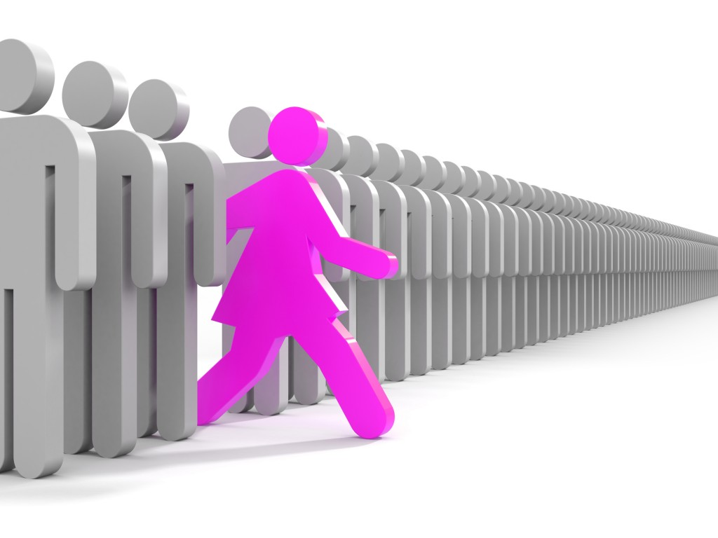 Woman run to new opportunities - business metaphor
